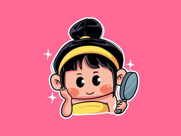 キュートでカワイイ女の子がスキンケアの後に鏡を見るルーチンのマンガちびイラスト