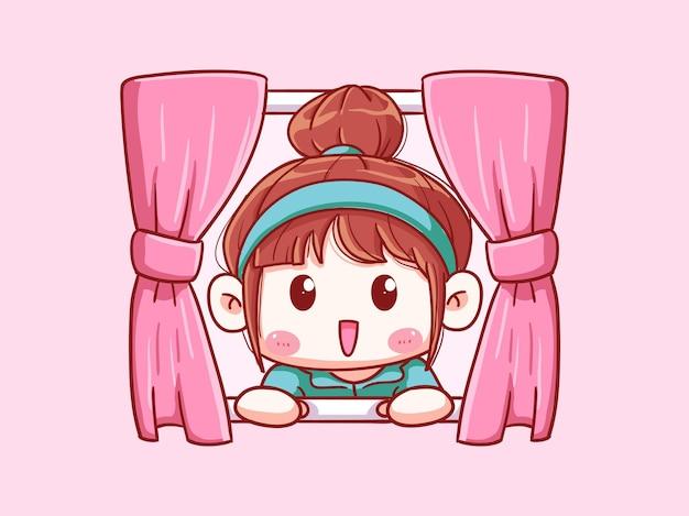 귀엽고 귀여운 소녀 아침 치비 그림에서 창 열기