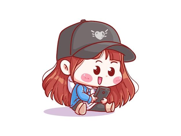 스마트 폰으로 노는 귀엽고 귀여운 소녀 만화 치비 일러스트