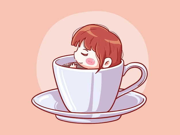 귀엽고 귀여운 소녀 휴식과 커피 한잔에 담그다 만화 치비 일러스트
