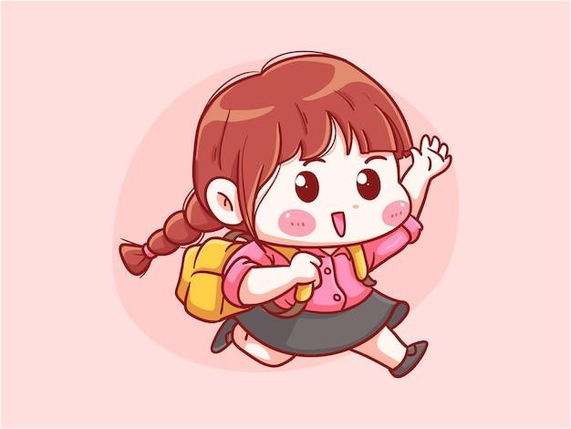 走っているキュートでカワイイ女の子がバックパックのマンガちびで学校に行く