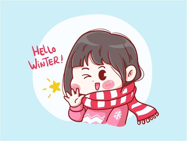 겨울 꼬마에게 인사하는 귀엽고 귀여운 소녀