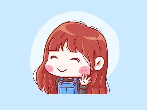 귀엽고 kawaii 소녀 미소와 파도 안녕 꼬마 그림