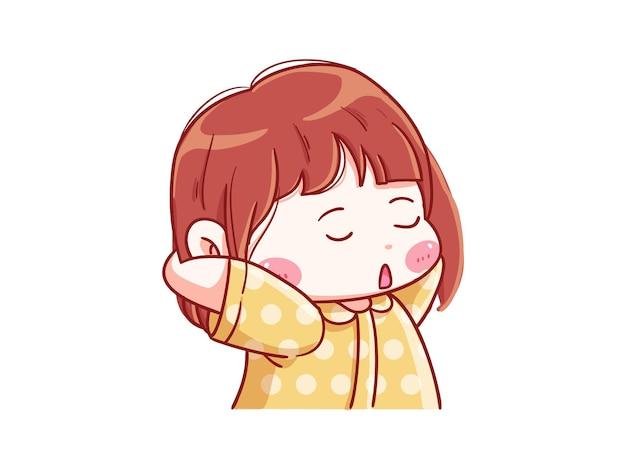귀엽고 kawaii 소녀가 말하고 졸린 꼬마를 느낀다.