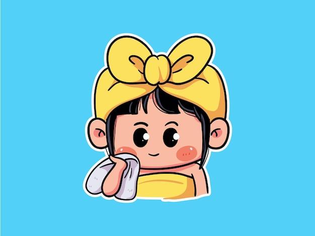 キュートでカワイイ女の子のスキンケア用タオルで顔を拭くルーチンのマンガちびイラスト