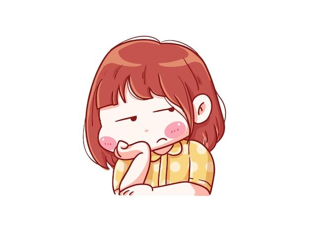 짜증나는 표정으로 귀엽고 귀여운 소녀 만화 치비