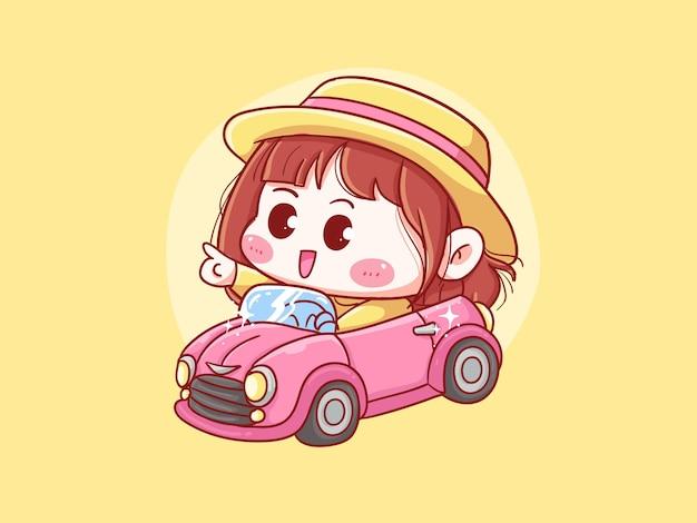 Милая и каваи девушка с соломенной шляпой водить кабриолет манга чиби иллюстрация