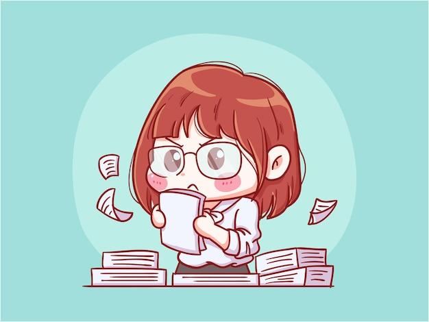 종이에 일하는 귀엽고 kawaii 소녀 만화 chibi
