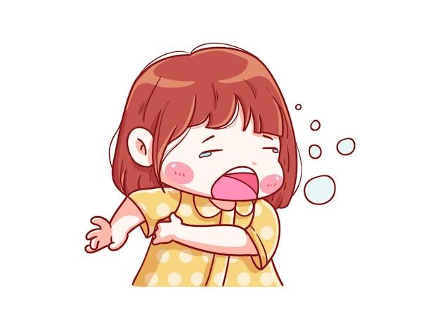 귀엽고 귀여운 소녀 하품과 졸린 manga chibi