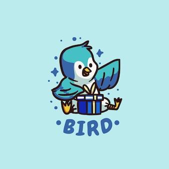 선물을받는 귀엽고 귀여운 행복한 새