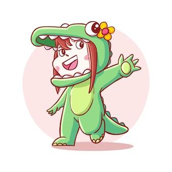 Милый и каваи счастливый ребенок в костюме крокодила иллюстрации шаржа