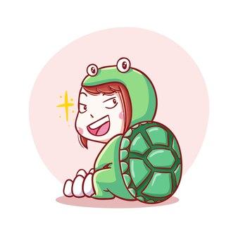 Милый и каваи счастливый ребенок в костюме черепахи иллюстрации шаржа