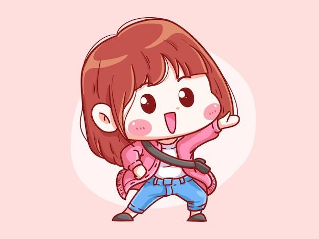귀엽고 kawaii 행복한 소녀는 무언가를 가리키는주의를 요구합니다.