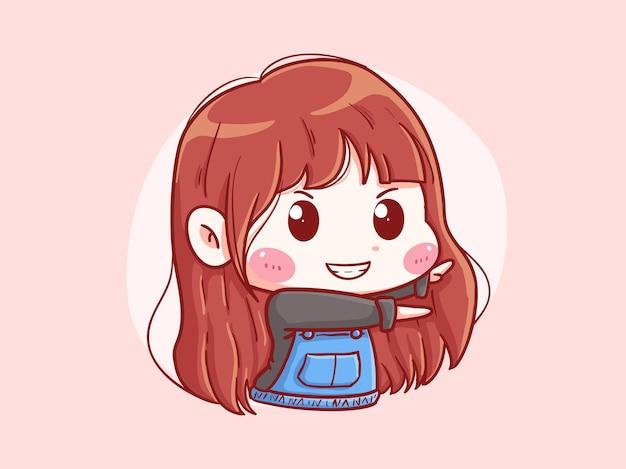귀엽고 kawaii 행복한 소녀 댄스 포즈 만화 치비 일러스트