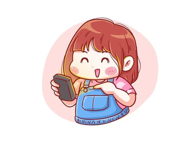 귀엽고 귀여운 행복 소녀는 그녀의 스마트 폰 만화 치비 일러스트를 봐