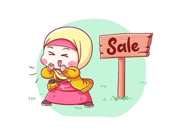 Милая и каваи девушка в хиджабе объявляет о распродаже манга чиби иллюстрация