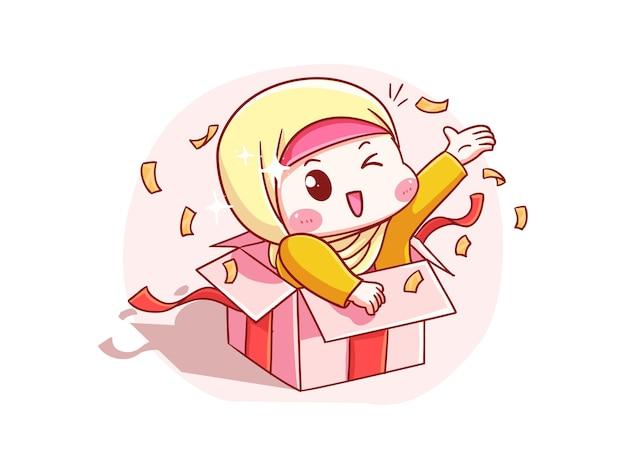 Милая и кавайная девушка в хиджабе делает сюрприз из подарочной коробки chibi illustration
