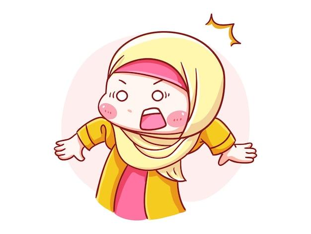 Милая и кавайная девушка в хиджабе шокирована и удивила манга чиби иллюстрация