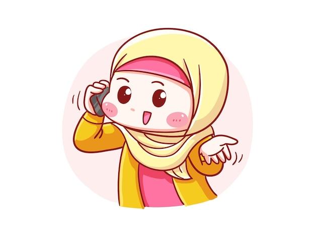 Милая и кавайная девушка в хиджабе разговаривает по телефону манга чиби иллюстрация