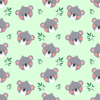 귀엽고 귀여운 코알라와 나뭇잎 원활한 패턴 프리미엄 벡터
