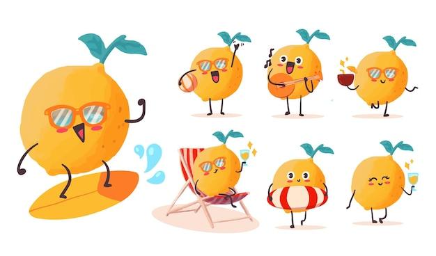 마스코트에 대한 다양한 활동과 표현으로 귀여운 카와이 레몬 스티커 일러스트 세트