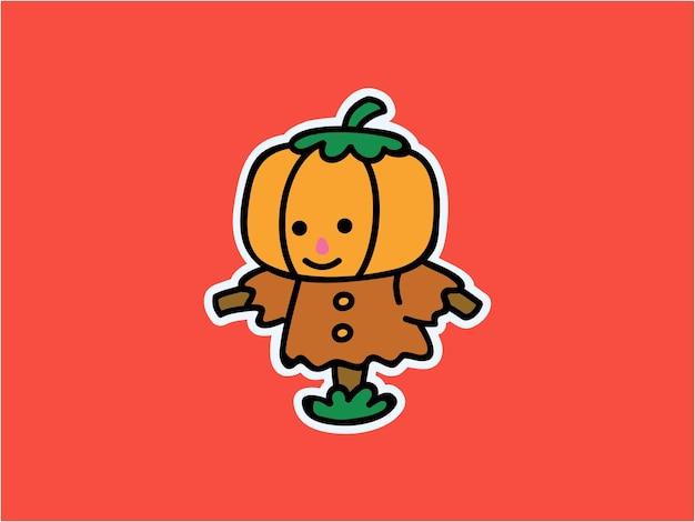 귀엽고 귀여운 작은 호박 허수아비 할로윈 캐릭터 일러스트 스티커