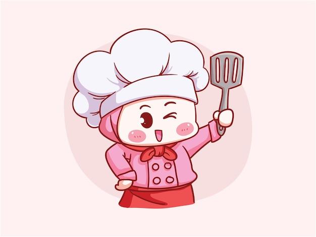 Hijab holding spatula manga chibi를 입고 귀엽고 귀여운 이슬람 여성 요리사