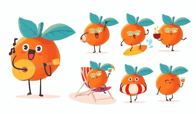 마스코트에 대한 다양한 활동과 표현으로 설정된 귀엽고 kawaii 주황색 스티커 일러스트