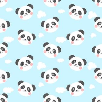 귀엽고 귀여운 팬더와 구름 원활한 패턴 프리미엄 벡터