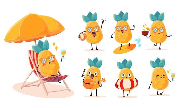마스코트에 대한 다양한 활동과 표현으로 설정된 귀엽고 kawaii 파인애플 스티커 일러스트