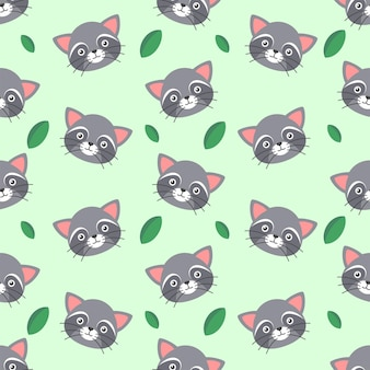 귀엽고 귀여운 너구리와 나뭇잎 원활한 패턴