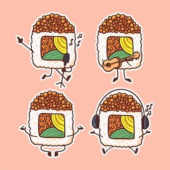 キュートでカワイイ卵巻き寿司のキャラクター