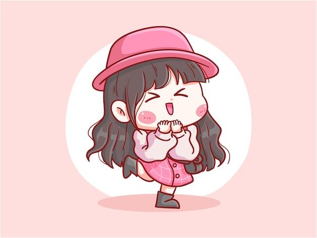 귀엽고 귀여운 여고생 행복하게 웃으십시오 만화 chibi