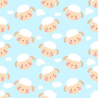 キュートでカワイイ羊と雲のシームレスなパターン