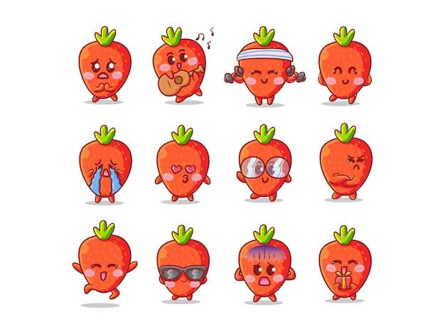 마스코트에 대한 다양한 활동과 표현으로 설정된 귀엽고 kawaii 딸기 스티커 일러스트