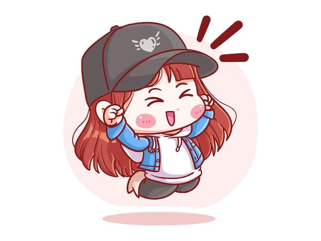 귀엽고 kawaii 세련된 흥분된 소녀 점프 만세 만화 꼬마 그림