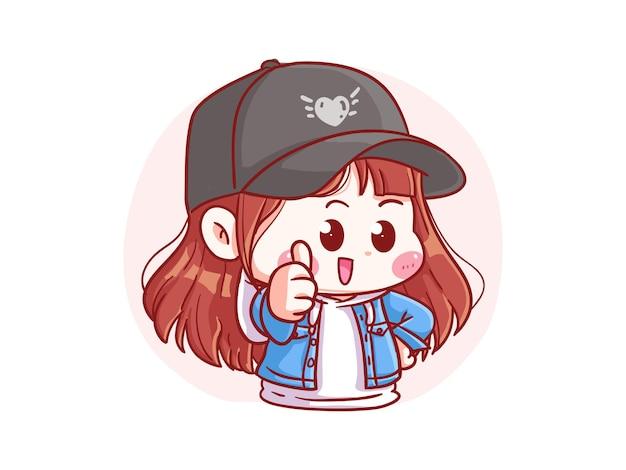 귀엽고 kawaii 세련된 소녀 엄지 손가락 가입 만화 꼬마 그림
