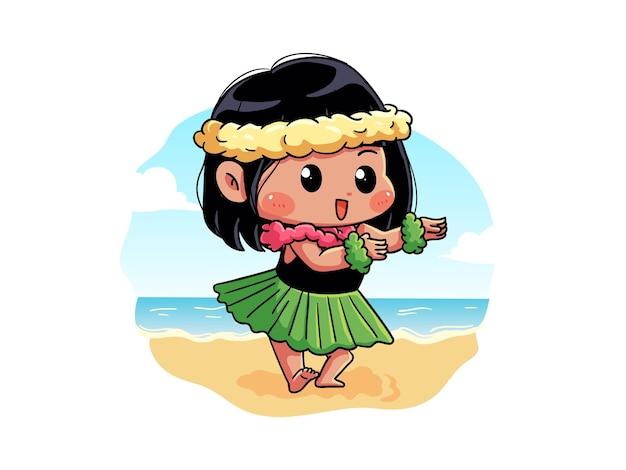 귀엽고 귀여운 여름 소녀가 머리에 꽃을 들고 훌라 댄스를하고 있습니다.