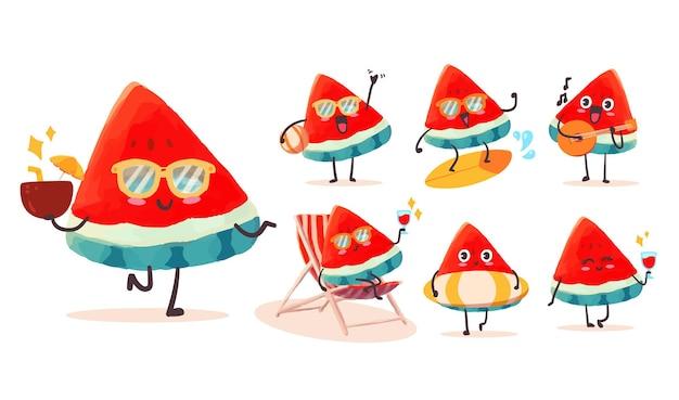 마스코트에 대한 다양한 활동과 표현으로 설정된 귀엽고 kawaii 수박 스티커 일러스트