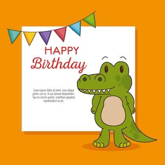 かわいい、小さなワニの誕生日カード