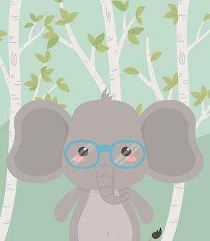 필드에 귀엽고 작은 코끼리