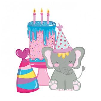 パーティーハットとかわいいと小さな象