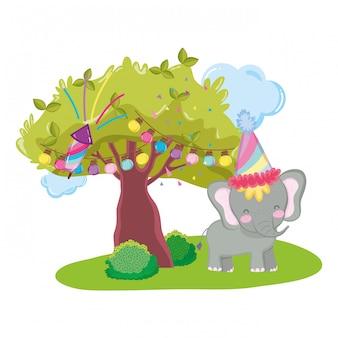 파티 모자와 귀엽고 작은 코끼리