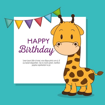 귀엽고 작은 기린 생일 카드