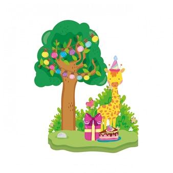 파티 모자 캐릭터와 귀엽고 작은 기린