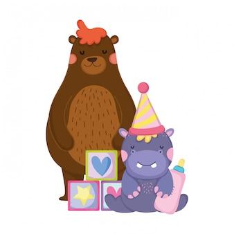 Милый и маленький персонаж бегемота в шляпе для вечеринки