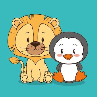 симпатичные и маленькие лев и персонажи пингвинов
