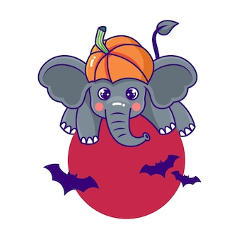 コウモリとカボチャとキュートで遊び心のあるハロウィーンのテーマ象の漫画のキャラクター