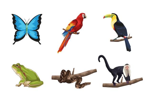 Симпатичные и реалистичные животные джунглей