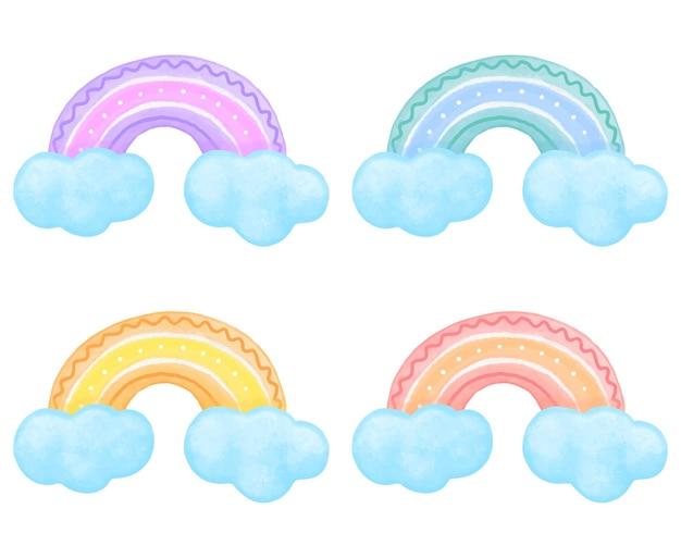 파란색 구름에 노란색 파란색 녹색 보라색과 주황색으로 다채로운 귀여운 수채화 무지개
